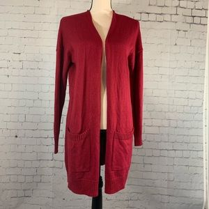 Abound Long Knit Red open front cardigan sweater S